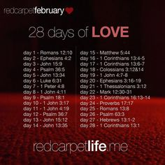28 Days of Scripture related to Love.