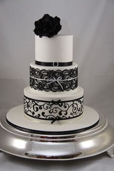 Black and White Lace and Piping Wedding Cake by Effie Valavanis: