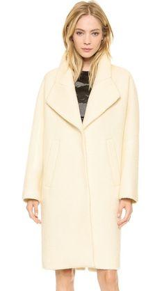 wool coat in cream