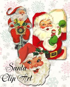 Cute Retro Santa Claus Clip Art Illustrations PnG