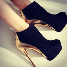 #amazing #shoes Black & Gold Booties