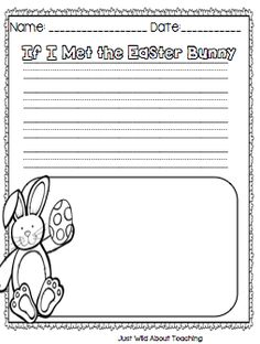 """51 Easter Crafts for Kids : Just Wild About Teaching: """"Springing"""" For Easter Craft! Easter is fast approaching and kids would be so much interested and eagerly waiting to prepare crafts for Easter. This year as of Easter falls on Kindergarten Writing Prompts, 1st Grade Writing, Kindergarten Fun, Teaching Writing, Teaching Strategies, Kindergarten Worksheets, Learning Resources, Teaching Kids, Literacy Activities"""
