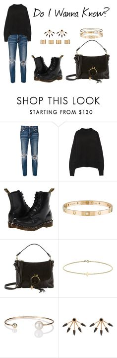 """""""Do I Wanna Know?"""" by anaelle2 ❤ liked on Polyvore featuring moussy, The Row, Dr. Martens, Cartier, See by Chloé, Minor Obsessions, Letters By Zoe, Pamela Love and Maison Margiela"""