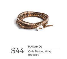 Nakamol Calla Beaded Wrap Bracelet. I love Stitch Fix! A personalized styling service and it's amazing!! Simply fill out a style profile with sizing and preferences. Then your very own stylist selects 5 pieces to send to you to try out at home. Keep what you love and return what you don't. Only a $20 fee which is also applied to anything you keep. Plus, if you keep all 5 pieces you get 25% off! Free shipping both ways. Schedule your first fix using the link below! #stitchfix @stitchfix…