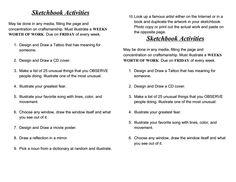 Sketchbook Activities weekly.doc - Google Drive
