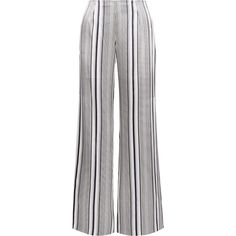 Jonathan Simkhai Striped silk-satin wide-leg pants ($417) ❤ liked on Polyvore featuring pants, white, see through pants, striped wide leg pants, sheer pants, stripe pants and white pants