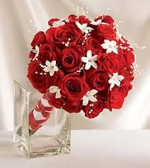 Red and White Bouquet(: With the black ribbons instead of the red!