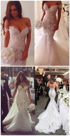 Off-Shoulder Lace Applique Mermaid Wedding Dresses Beaded Sweetheart Sexy Bridal