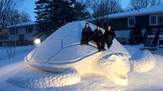 Turtle power! Brothers build massive 12-foot-tall snow sculpture
