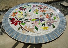 MOSAIC table colorful dancing flowers stained glass mosaic art table top or wall piece WHITE - Paradise Mosaics