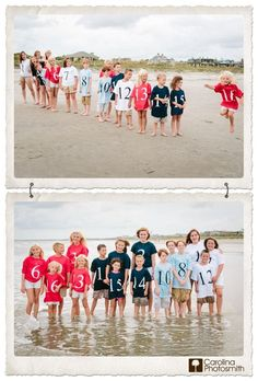 Sixteen cousins in a lineup. Numbered shirts, color coded by family.