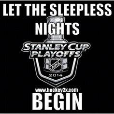 Let the sleepless nights begin - Stanley Cup playoffs LA Kings vs NY Rangers Bruins Hockey, Rangers Hockey, Hockey Baby, Ice Hockey, Pens Hockey, Hockey Memes, Hockey Quotes, Hockey Stuff, Stanley Cup Playoffs