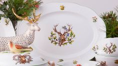1 pc - Oval Dish - length 34 cm CHTM - Deer motif This Forest Animals Elegant Table, Forest Animals, Fine China, Pet Birds, Decorative Plates, Hunting, Dishes, Woodland Animals, Flatware