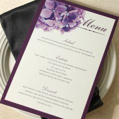 Purple Hydrangea Wedding Dinner Menu, Deposit. $50.00, via Etsy.