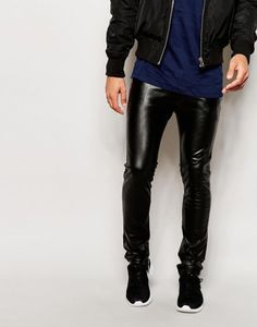 Leather Look Jeans, Mens Leather Pants, Mens Chino Pants, Mens Sweatpants, Men's Leather, Smooth Leather, Skinny Chinos, Skinny Jeans, Men's Chinos