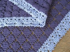 These little wagons....: Crocheted shawl in dark purple and periwinkle