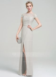 [£99.00] Sheath/Column Scoop Neck Floor-Length Chiffon Evening Dress With Beading Sequins Split Front
