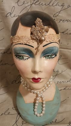 "Hand painted, Brunette Mannequin Head, Vintage Style, ""Polly"""