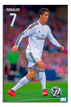 Cristiano Ronaldo of Real Madrid in Real Madrid Cristiano Ronaldo, Cristino Ronaldo, Ronaldo Juventus, World Best Football Player, World Soccer Shop, Football Players, First Football, Football Fever, Soccer Poster