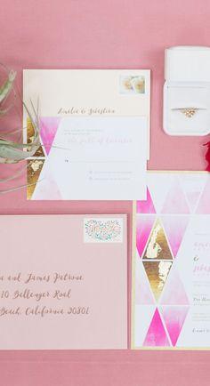 pink geometric invitation