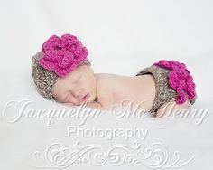 The Emma Beanie in Taupe Mist and Raspberry by mamamegsyarnshoppe, $28.00