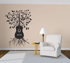 Wall Vinyl Sticker Decals Mural Room Design Pattern Music Melody Tree Guitar bo288 by RoomDecalsAndDesigns on Etsy https://www.etsy.com/listing/222547242/wall-vinyl-sticker-decals-mural-room