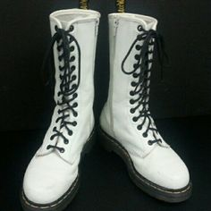 Dr Martens white Dr Martens 14 eye.  Pre-owned some scuffing, one small scag in leather on left foot. Dr. Martens Shoes Lace Up Boots
