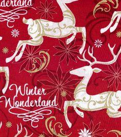 Holiday Inspirations Christmas Fabric Winter Wonderland Red Metallic