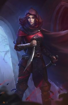 f Rogue Thief Leather Armor Cloak Short Sword Dagger undercity urban city