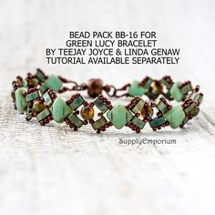 """Bead Pack BB16 for Green """"Lucy"""" Bracelet From Linda's Crafty Inspiration - Free Tutorial Available Separately BB-14 Silver Lucy Bracelet"""