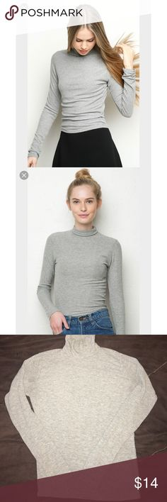 Brandy Melville gray turtleneck top Ribbed. Long sleeve. Gently used. Great condition. Hugs the body. So cute! Brandy Melville Tops Tees - Long Sleeve