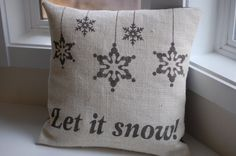 Burlap Christmas/winter pillow cover handpainted with snowflake ornaments and Let it snow - Pillow Insert Sold Separately