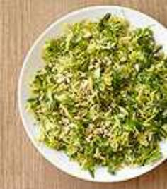 Shredded Brussels Sprouts with Basil and Pine Nuts