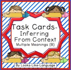 Achieve vocabulary standards using these task cards from Looks-Like-Language! Inferring from sentence context and word wall. $