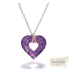 Image for Swarovski Element 17.0mm Amethyst Crystal Miss U Heart Pendant from SHOP.CA