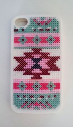 Aztec Print Cross Stitch Phone Case for by MichelleDoesCrafts, $30.00