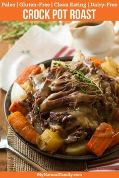 This Paleo crock pot roast recipe is easy to make - throw the ingredients in your slow cooker and forget about it until it's time to make the gravy from the drippings then enjoy! Make it Paleo by subbing parsnips for the white potatoes and arrowroot starch in the gravy. {Gluten-Free, Clean Eating, Dairy-Free} #paleo #paleorecipes #mynaturalfamily via @mynaturalfamily