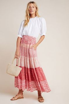 DOLAN Collection Freja Tiered Maxi Skirt by Dolan Left Coast in Assorted Size: Xs, Women's Skirts at Anthropologie Girly Outfits, Stylish Outfits, Cool Outfits, Fashion Outfits, Modest Outfits, Modest Fashion, Fashion Clothes, Trendy Fashion, Summer Outfits