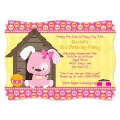 Pink Girl Puppy Dog Party Invitations - Printed Party Supplies for Twins