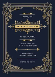 Invitation card for weddings or events. Gold and black signature to the 1920's Art Deco style Gatsby Collection.     All designs © Copyright Sugar Tree Paperie.