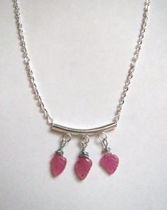 Genuine pink Sapphire silver chain necklace.  $30, free US shipping.