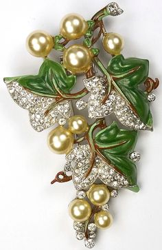 Trifari 'Alfred Philippe' Pave Pearl Grapes and Enamel Vine Leaves Pin Clip