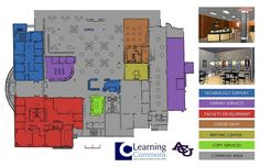 ACU Library Learning Commons Floor Plan    Shows layout of the main floor of the Library Learning Commons with the service areas of our partners, location of collaborative workstations, etc.