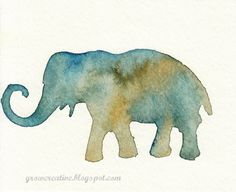 watercolor elephant stencil art : Grow Creative
