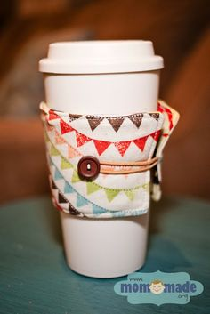 Mom-Made | Sewing Shop and Photography Blog: Sewing Projects - pennant coffee cup cozy
