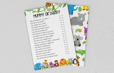 Baby Shower Games - Jungle Animals - Mummy or Daddy Games Jungle, Jungle Animals, Baby Shower Games, A5, Etsy Store, Daddy, Printing, Invitations, Digital