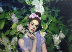 Artist: Malcolm Liepke (American, born 1953 Title: Hydrangea Garden, 2013 Medium: Paintings, Oil on canvas Size: 71 x 97 cm. (28 x 38.2 in.) Movement: contemporary