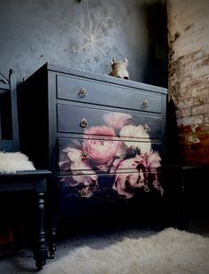 Excited to share this item from my #etsy shop: Vintage floral painted chest of drawers Upscale Furniture, Funky Furniture, Upcycled Furniture, Living Furniture, Furniture Makeover, Floral Painted Furniture, Decoupage Furniture, Hand Painted Dressers, Painted Chest