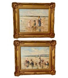 A fine pair of oil paintings of mothers and children on beach A beautiful original pair of oil paintings in lovely frames. Painted in fine detail the Mother And Child, Oil Paintings, Mothers, Frames, Interiors, Fine Art, Detail, Antiques, Children