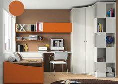 Dormitorio con armario rincón de 2 puertas